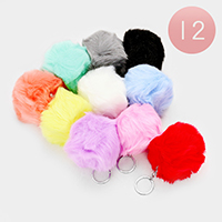 12PCS - Faux Fur Pom Pom Key Chains