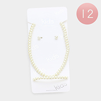 12PCS - Kids Faux Pearl Bracelet Necklace Set