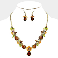 Teardrop Stone Flower Leaf Statement Necklace