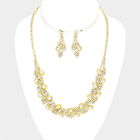 Pave Crystal Rhinestone Leaf Cluster Pearl Necklace
