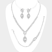 Crystal Rhinestone Oval Dangle Necklace Jewelry Set