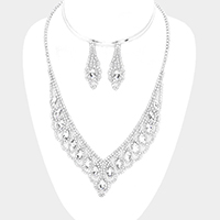 Pave Crystal Rhinestone Oval Stone Accented Necklace