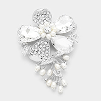Crystal Flower Pearl Pin Brooch