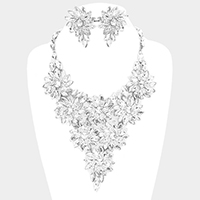 Marquise Glass Crystal Flower Cluster Vine Bib Necklace
