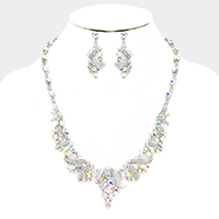 Marquise Rhinestone Glass Crystal Statement Necklace