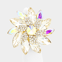 Oversized Oval Glass Stone Cluster Flower Stretch Ring
