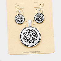Antique Filigree Round Magnetic Pendant Set