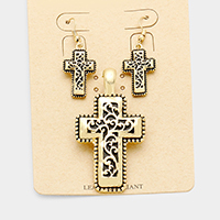Antique Filigree Cross Magnetic Pendant Set