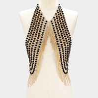 Pearl fringe armor bib body chain necklace