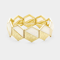 Mother of Pearl Metal Hexagon Stretch Bracelet