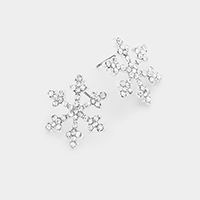 Crystal Rhinestone Snowflake Stud Earrings