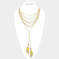 Multi Strand Metal Chain Drop Glittered Feather Bib Necklace