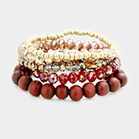 5PCS Multi Strand Wood Glass Beaded Stretch Bracelet