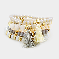 5PCS Glass Beaded Double Tassel Stretch Bracelet