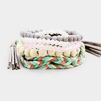 5PCS Multi Strand Stretch Braided Tassel Wrap Bracelet