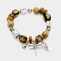 Wood Multi Beaded Dragonfly Leaf Charms Stretch Bracelet