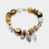 Wood Multi Beaded Pine Cone Leaf Charms Stretch Bracelet