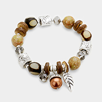 Wood Multi Beaded Acorn Leaf Charms Stretch Bracelet