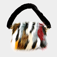 Multi Color Furry Faux Fur Clutch Bag
