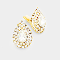 Marquise Pave Stone Trimmed Teardrop Clip on Earrings