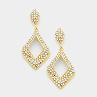 Marquise Pave Stone Cut Out Evening Earrings