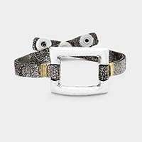 Metal Square Hoop Snap Button Bracelet