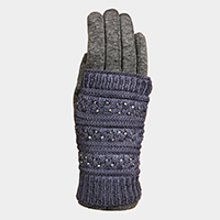 Double Layer Studded Fleece Lining Touch Gloves