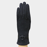 Faux Suede Round Buckle Detail Fleece Lining Touch Gloves