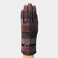 Classic Checker Buckle Detail Fleece Lining Touch Gloves