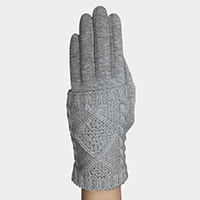 Cable Knit Fleece Lining Touch Multiway Layer Set Gloves