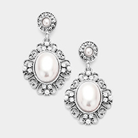 Antique Oval Pearl Accented Dangle Earrings
