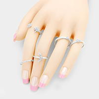 5PCS - Mixed Crystal Rhinestone Moon Star Rings