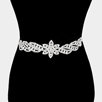 Pave Stone Flower Sash Ribbon Bridal Wedding Belt