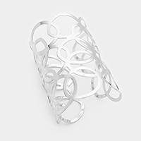 Wide Cut Out Circular Cage Metal Cuff Bracelet