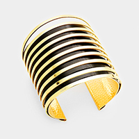 Layered Black Enamel Metal Cut Out Cage Cuff Bracelet