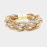 Braided Cord Beads Covered Mesh Magnetic Bracelet