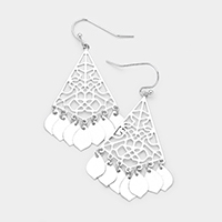 Filigree Metal Disc Fringe Dangle Earrings