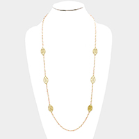Beaded Filigree Metal Oval Station Long Necklace