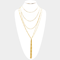Multi Chain Layered Long Drop Chain Tassel Necklace