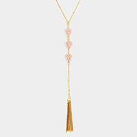 Beaded Triple Triangle Drop Chain Tassel Necklace