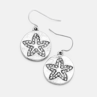 Stone Trimmed Starfish Metal Disc Dangle Earrings