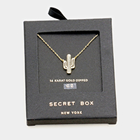 Secret Box _ 14K Gold Dipped CZ  Cactus Pendant Necklace