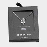 Secret Box _ White Gold Dipped CZ Cactus Pendant Necklace