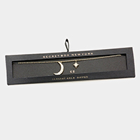 Secret Box _ 14K Gold Dipped CZ Moon North Star Necklace