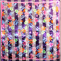 Silk Feel Striped Flower Print Square Scarf