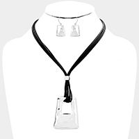 Layered Cord Cut Out Metal Trapezoid Pendant Necklace