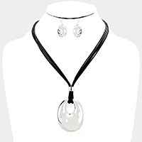 Layered Cord Cut Out Oval Metal Pendant Necklace