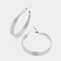 14K Gold Filled Layered Metal Hoop Earrings