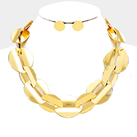 Cut Out Metal Disc Link Collar Necklace