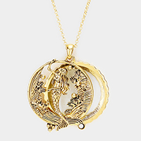 Vintage Mermaid Magnifying Pendant Long Necklace
